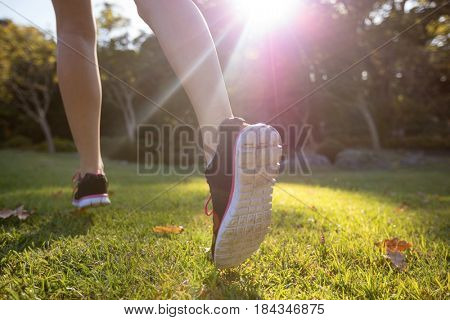 Feet of jogger jogging in the park on a sunny day