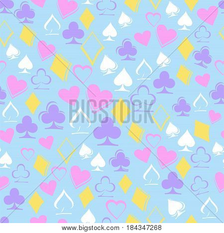 Playing card suits on blue background. Seamless pattern. Alice in Wonderland background, wallpaper. Vector illustration