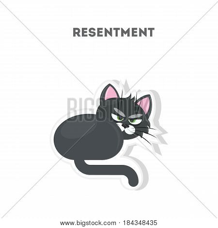 Angry cat sticker. Isolated cute sticker on white background. Resentment.