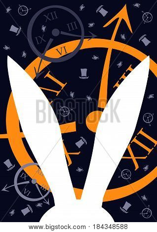 Alice in Wonderland. Clock and white rabbit.Template for your design, background,  vector illustration