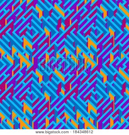 Abstract labyrinth. Geometrical seamless pattern. Multicolored bright geometrical background. Abstract pattern. Vector illustration