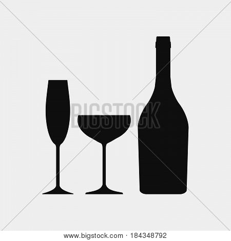 Bottle of champagne and glasses icons. Sparkling wine icon, alcohol icon. Silhouette.  Vector illustration