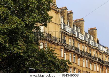 LONDON, GREAT BRITAIN - SEPTEMBER 18, 2014: This is one of a multi-storey Victorian building in the Marylebone area.