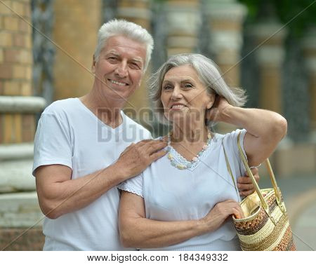 Portrait of beautiful elderly couple outdoor , close-up