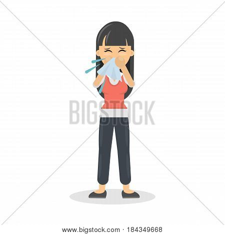 Isolated snotting woman on white background. Cold or allergy.