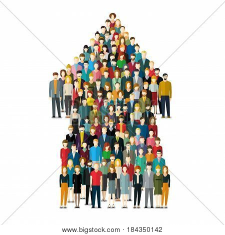 Concept of attracting customers and clients to business. Arrow with crowd of people. Vector illustration in flat style.