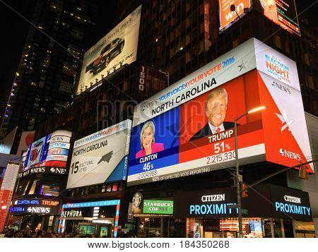 New York USA november 8th 2016: led billboard with live Results during the election night for USA presidential vote in times square new york