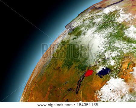 Burundi From Orbit Of Model Earth