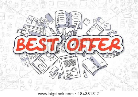 Red Inscription - Best Offer. Business Concept with Cartoon Icons. Best Offer - Hand Drawn Illustration for Web Banners and Printed Materials.