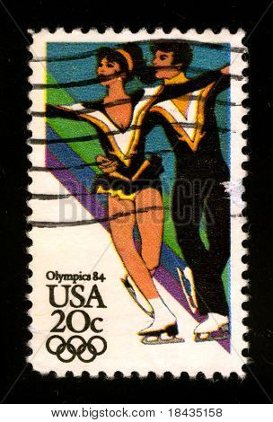 USA - CIRCA 1984: A stamp printed in USA shows image of the dedicated to the Olimpics 84, circa 1984.