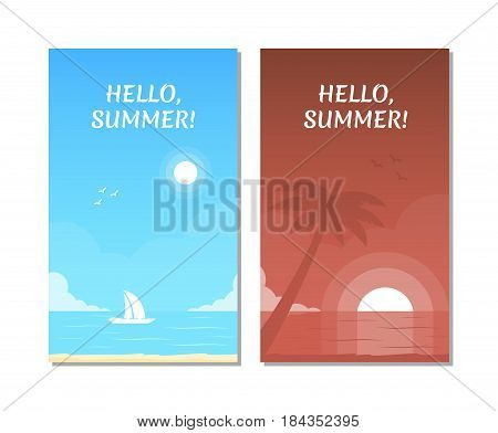 Summer tropical background for placard, poster, flyer invitation card. Seascape with sailing yacht. Tropical beach with silhouette of palm tree on the sunset. Vector illustration in flat style.
