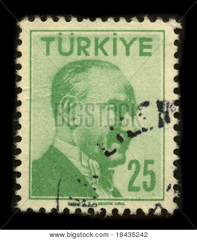 TURKEY-CIRCA 1958:A stamp printed in Turkey shows image portrait Mustafa Kemal Ataturk was a Turkish army officer, revolutionary statesman, writer, as well as the first Turkish President, circa 1958.