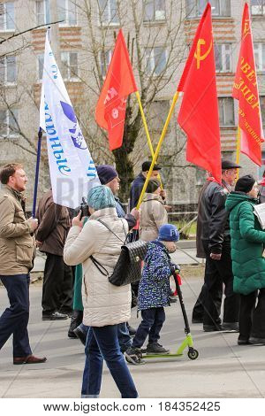 Kirishi, Russia - 1 May, Photographer at the demonstration,1 May, 2017. People at the May demonstration and rally in the Russian provincial government.
