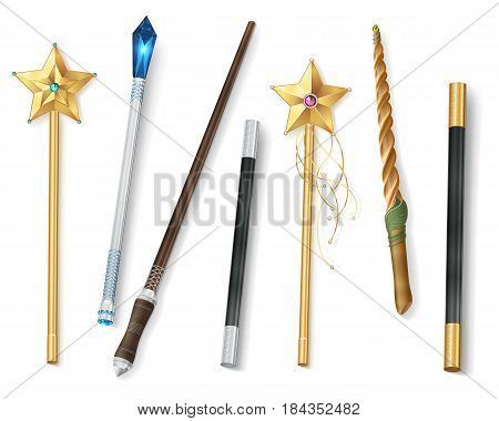 Collection of magic wands of various shapes with stars and jewel realistic vector illustration