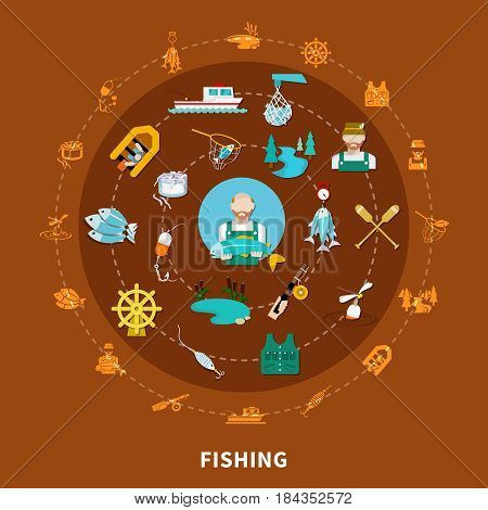 Fishing set of flat isolated fishing tackle icons and sailing equipment signs arranged along concentric circles vector illustration