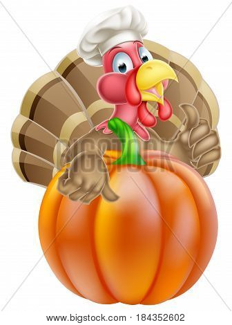 Cartoon thanksgiving turkey chef giving a thumbs up and wearing chef hat behind a pumpkin