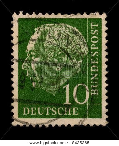GERMANY-CIRCA 1968:A stamp printed in GERMANY shows image of the Theodor Heuss was a German politician and served as the first President of the Federal Republic of Germany, circa 1968.