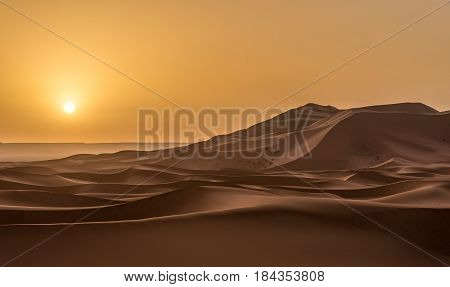Sand dunes of Sahara in the morning light - Morocco