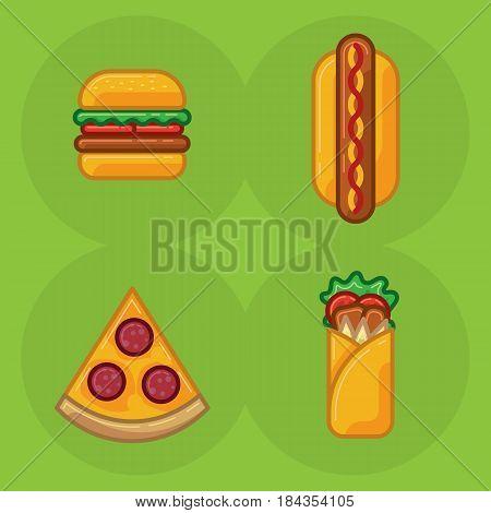 Vector icon set of food fast food pizza, sandwich roll, hamburger, hot dog. Illustration of set of fast food meals