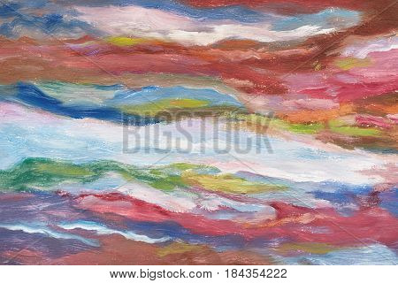 Oil Painting On Canvas. Cold Shades. Brushstrokes Of Paint. Modern Art. Horizontal Abstracted Colorf