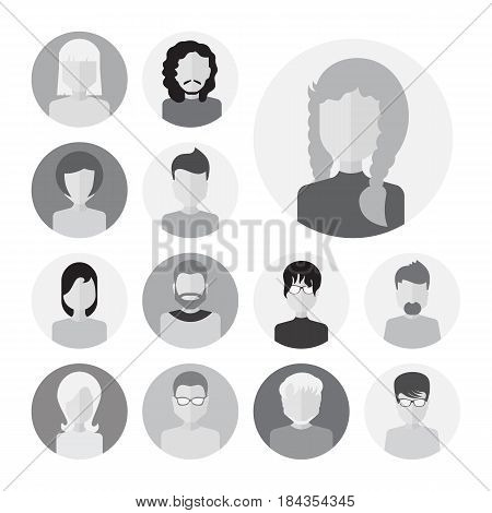 Set Of Male And Female Faces Avatars Or People Icon Collection