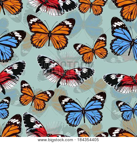 Butterflies Seamless Pattern, Vector Background. Bright Multicolored Insects On A Gray Green Backdro