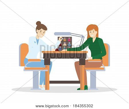 Manicure at the spa or beauty salon. Women in the office with nail polish.