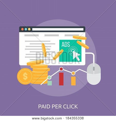 Paid Per Click Conceptual Design | Great flat illustration concept icon and use for business, people, marketing, working, idea, event and much more.