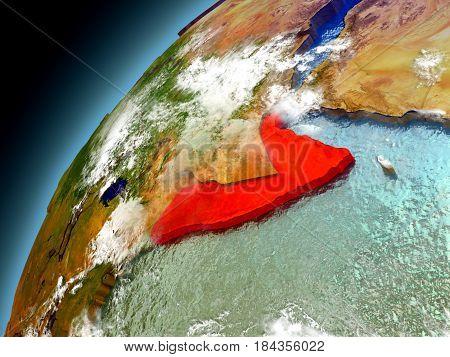 Somalia From Orbit Of Model Earth