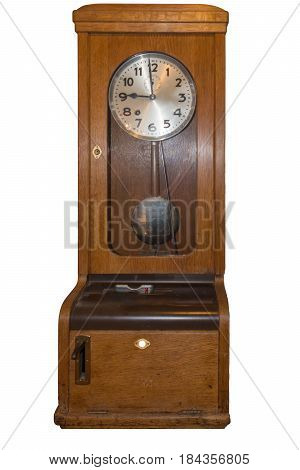 Old Time clock for the recording of working hours.