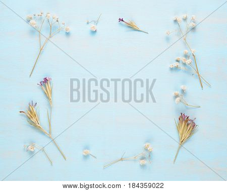 Frame of dry flowers on blue wooden background