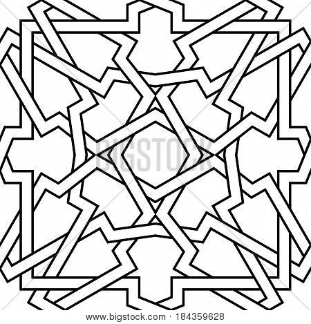 Geometric interlaced pattern. Seamless vector background in arabic style