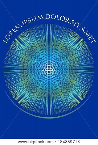 Abstract blue background with white ornament on fine rays, vector EPS 10