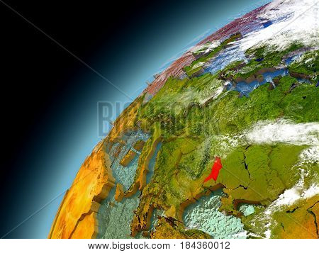 Moldova From Orbit Of Model Earth