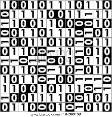 Digital background with computer thema, binary digit 1 a 0, color black and white, inverse squares with numbers, vector EPS 10