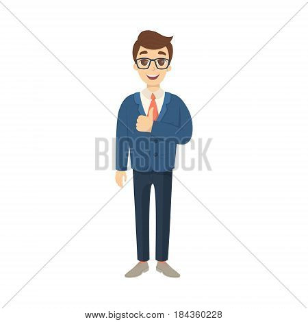 Businessman thumbs up gesture on white background. Cute character in buisness suit.