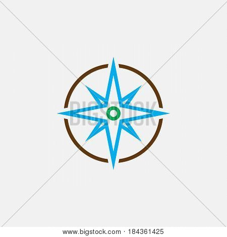Compass Line Icon, Color Navigation Outline Vector Illustration, Linear Pictogram Isolated On White