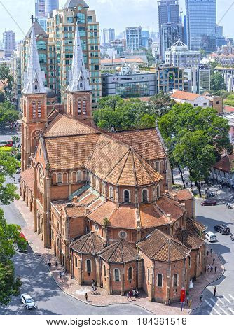 Ho Chi Minh City, Vietnam - May 1st, 2017: Closeup Aerial view Notre-Dame Cathedral Basilica beauty buildings over a hundred years old in Ho Chi Minh City, Vietnam