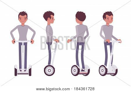 Young handsome man riding a white segway, modern urban eco transport, standing pose, street sightseeing, vector flat style cartoon illustration isolated, white background, front, side, rear view