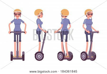 Young attractive happy woman riding a black segway, wearing helmet, modern outdoor transport, standing pose, vector flat style cartoon illustration isolated, white background, front, side, rear view