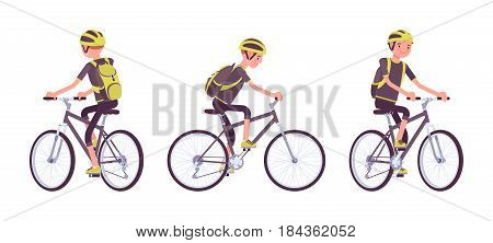 Handsome young man riding a sport bike, wearing helmet and backpack, active lifestyle, mountain and road fun, vector flat style cartoon illustration, isolated, white background, front, side, rear view