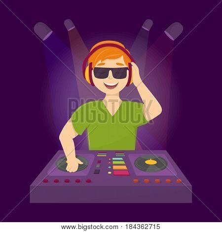 Cool dj in club. Man in headphones djing in the dance club.