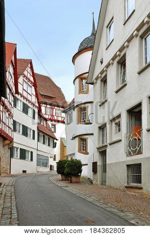 Old narrow street of Leonberg, Baden-Wurttemberg, Germany.