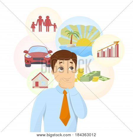 Isolated dreaming businessman with dream bubbles with family, money, car and more.