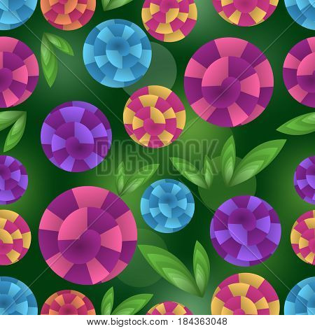 Seamless background with fantasy optical art flowers, 3d illusion on dark green bokeh surface, vector EPS 10