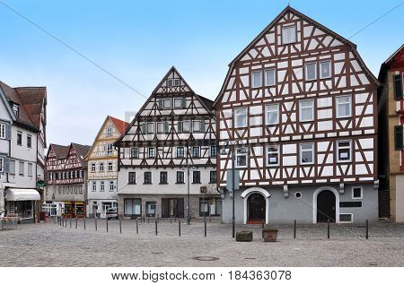 Leonberg old town with the pedestrian area and half-timbered houses. Baden-Wurttemberg, Germany.