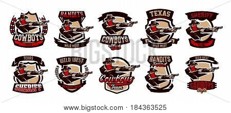 A set of emblems, logos, cowboy shooting from two revolvers. Wild west, a thug, Texas, a robber, a sheriff, a criminal, a shield. Vector illustration, printing on T-shirts.