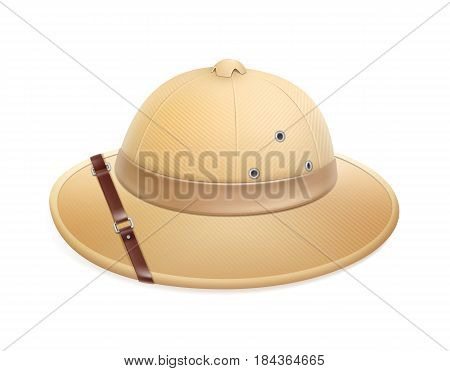 Vector beige adventure safari hat with belt isolated on white background
