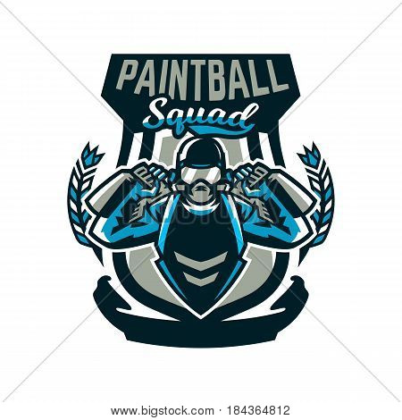 Logo, emblem, a person playing paintball holds two guns. Team game, ammunition, shooting range, war. Vector illustration