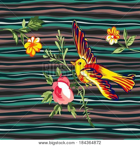 Hand drawn bird flying with flower roses tropical vintage print stripes weaves pattern retro background vector illustration for design fashion shirt textile greeting card invitation wedding